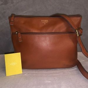 Fossil Tinsley Pebbled Leather Crossbody Bag Brown